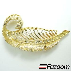 Jewelry - Vintage Gold-Tone Leaf with Rhinestones Brooch Pin